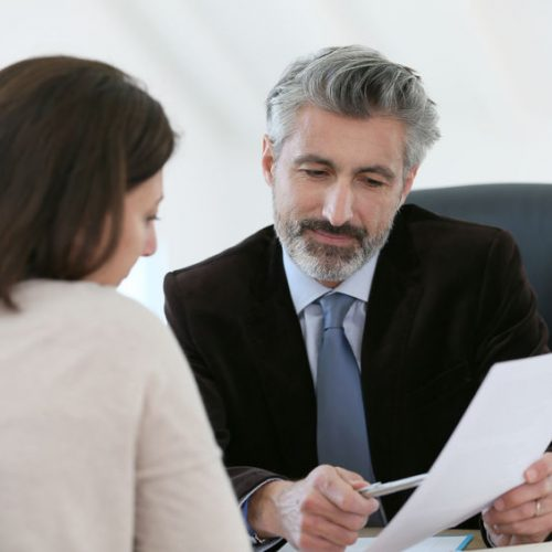 meeting client in office